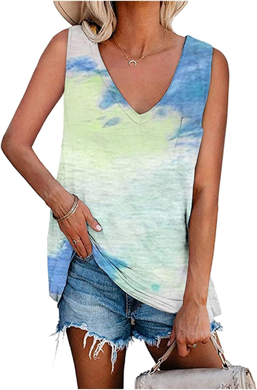 FABIURT Summer Tops for Women, Womens Fashion Stripe V Neck Tank Top Sleeveless Vest T Shirts Casual Comfy Tunic Blouses