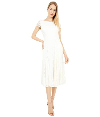 Vince Camuto Lace Midi with Cap Sleeve (Ivory) Women