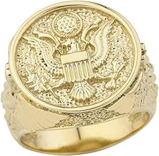 Men's Solid 14k Gold US Army Military Insignia Ring