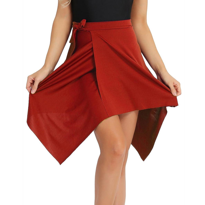 CHICTRY Women Asymmetric Latin Waist Tie Side Irregular Dance Wrap Skirt