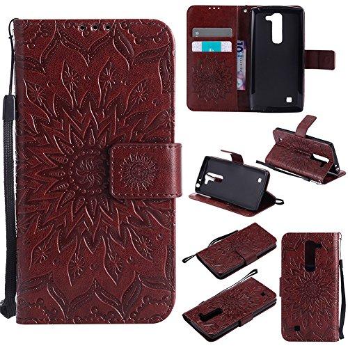 Nancen Compatible with Handyhülle LG G4 Mini Hülle,LG G4 Mini/LG G4c / Magna C90 H502F (5 Zoll) Leder Wallet Tasche Brieftasche Schutzhülle, Nancen Prägung Sonnenblume Muster