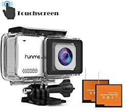 """RUNME R3 2.45"""" Touchscreen 4K 16MP Wi-Fi Action Camera, 30M Water Resistant Camcorder with 170° Wide-Angle Lens, Sports Cam with Accessories Kit & 2 Rechargeable Batteries(White)"""