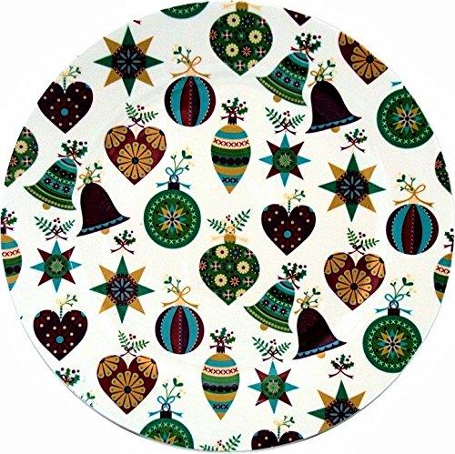 Piatti di porcellana fine a fantasia natalizia, da 27 cm, decorati a mano nel Regno Unito