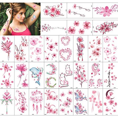 Qpout 30 hojas Tatuajes de flores para niñas mujeres, impermeable Rosado flor cara brazo tatuajes para niños niñas flor regalo de cumpleaños bolsa relleno mujeres fiesta decoración suministros