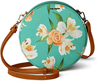 DailyObjects Mint Blooms Orbis Round Sling Crossbody Bag for girls and women | Vegan leather, Stylish, Sturdy, Zip closure...
