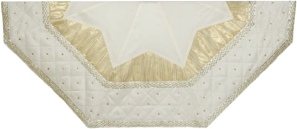 Kurt Adler Tree Skirt Easy-to-use with Border Limited Special Price Quilted Ivory 52-Inch
