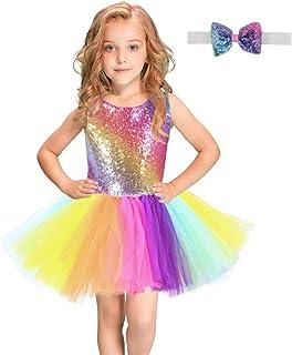 女の子のパーティードレス ガールズドレスダンスコスチュームレインボースパンコールメッシュカラフルなペティスカートスーツ子供ドレス フォーマルなパーティーの誕生日の卒業プロムのダンスのボールのドレスドレス (サイズ : 4T(95-115cm))