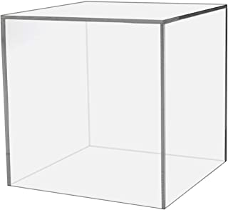 Marketing Holders Show Case 5 Sided Cube 8 inch Retail Riser Advertisement Display Art Pedestal Museums Wedding Receptions Venues Jewelry Display Clear Acrylic