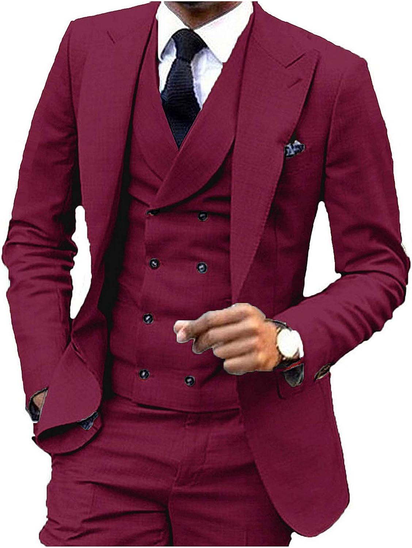 JY Men's Fashion 3 Pieces Men Suits Wedding Suits for Men Groom Tuxedos Burgundy