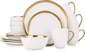 Stone Lain Porcelain 16 Piece Dinnerware Set, Service for 4, White and Golden Rim