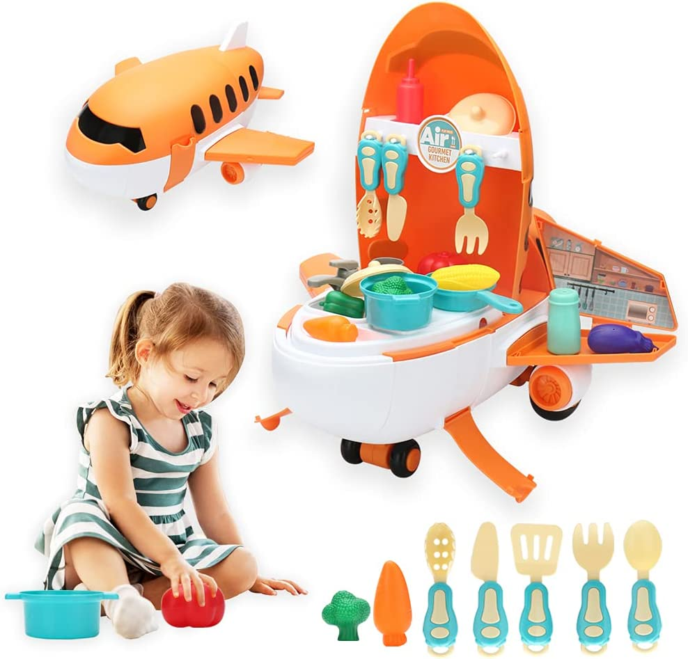 OMNISAFE 2 in 1 Kitchen Ranking integrated 1st place Time sale Pretend Play Set Airpl Toys Large Theme