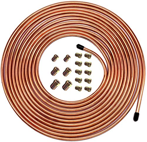 Eastyard 25 Ft. of 3/16 inch Brake Line Copper-Nickel Brake Line Fitting Kit and Flexible Tubing Coil (Includes 16 Fittings) for Car Truck Motor