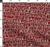 Hieroglyphe, Ägyptisch, Dünne Linie Textilien, Weiß Und