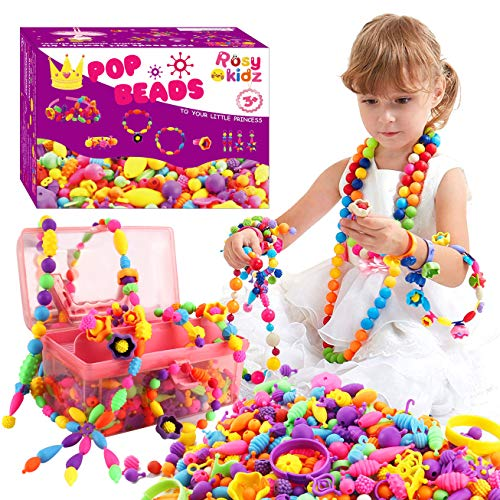 ROSYKIDZ Snap Pop Beads for Girls Toys - 600PCS Kids Jewelry Making Kit Pop-Bead Art and Craft Kits DIY Bracelets Necklace Hairband and Rings Toy for Age 3 4 5 6 7 8 Year Old Girl