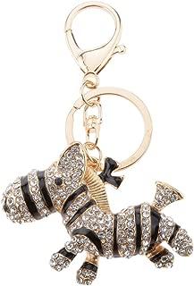 Prettyia Sparkly Zebra Shaped Charm Alloy Key Ring Stylish Decor Keychain White Black