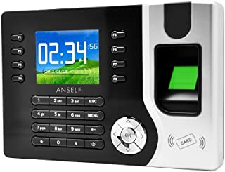 Blusea LCD Display Biometric Fingerprint Attendance Machine ID Card Reader TCP/IP Function USB DC12V/1A Time Clock Recorder Employee Checking-in A-C071, 2.4