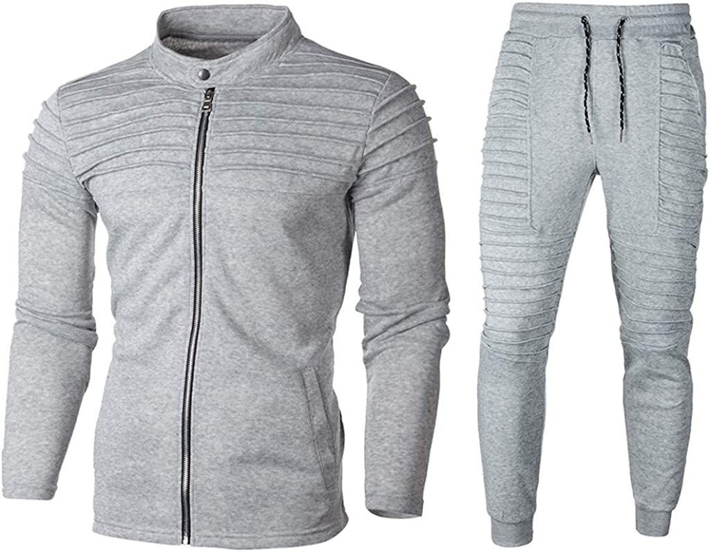 aliveGOT Men's 2 Piece Tracksuits Pleated Full Zip Tracksuit Set Casual Jogging Athletic Sweat Suits