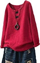 Minibee Women's Pullover Tunic Top Chinese Frog Button Blouse Long Sleeve Shirt