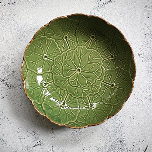 YUWANW Textured Ceramic Plate Western Food Tray Fruit West Point Steak Pan, Count The Fruit Tray Tables Are Set Up In The Large Leaves In The Soup, Sesame Glaze