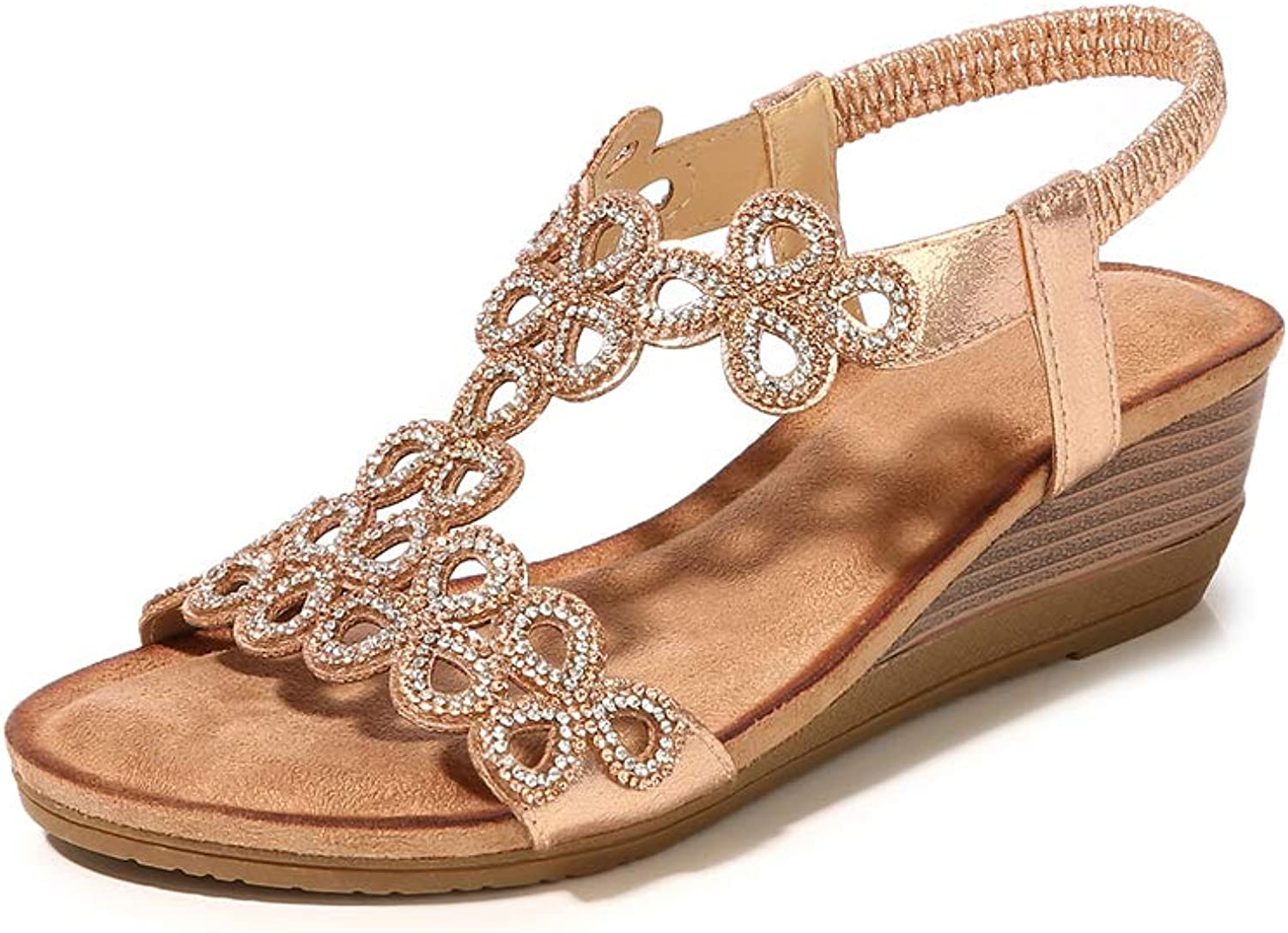 Mekidy Beaded Jeweled Leather Wedge Sandles Women's Sandals