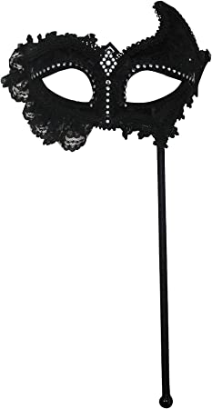Black Mask with Lace attached to Handle