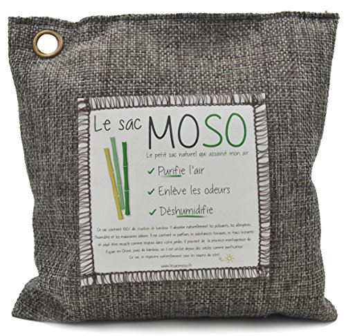 Le Sac MOSO (Die Moso Tasche) Version 500GR - Natürliche Luftreiniger , Deodorant, Feuchtigkeitsabsorber , geruchlos - gefertigt aus 100% Bambuskohle - 500 Gr Grau