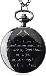 Mens Engraved Gifts for Valentine's Day, Anniversary Birthday Graduation Christmas Personalized Mechanical Pocket Watch with Gift Box