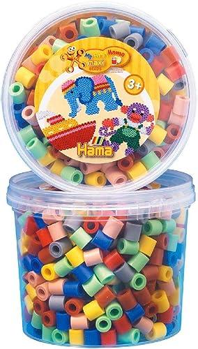 Hama - 8573 - Loisirs Créatifs - Pot 600 Perles à Repasser - Taille Maxi - Mix 7 Couleurs