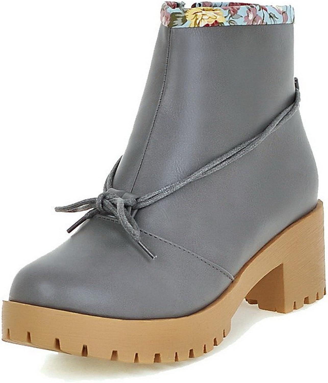 WeiPoot Women's Solid PU Kitten-Heels Round Closed Toe Zipper Boots