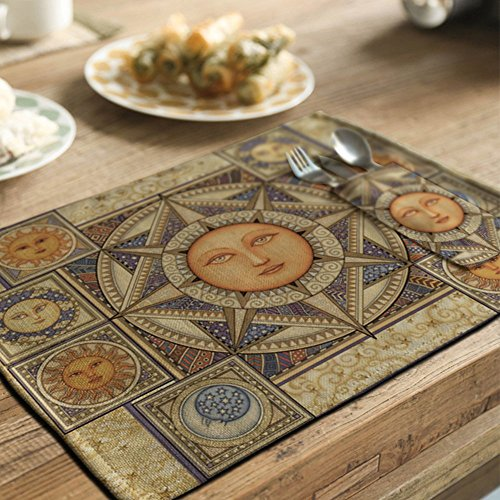 yazi Country Rustic Placemat Kitchen Dining Table Decoration Cotton Linen Heat Insulation Pad 1pc Helios (1, Helios)