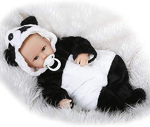 Rocking Horse   Doll Réaliste   Dolls Reborn Poupées en Vinyle Souple 17 \ Cadeaux pour Nouveau-nés Reborn avec Une Tenue De Panda