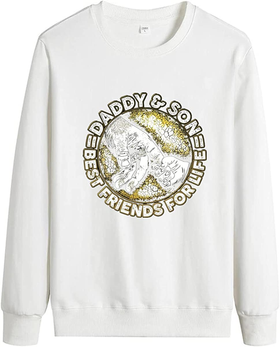 DBZ Men's Long Sleeve Pullover Father Letter Print Cotton Round Neck Pocket Pullover