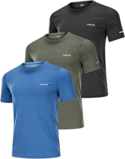 CongYee Athletic T Shirts for Men 3 Pack Men's Active Quick Dry Crew Neck T Shirts Athletic Running Gym Workout Short Sleeve