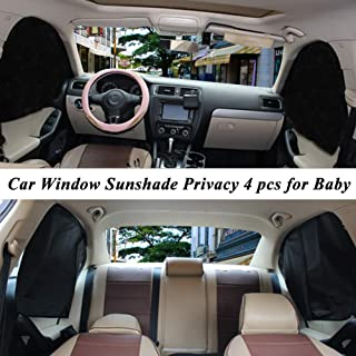 ZATOOTO Car Side Window Sun Shade - 4 Pcs Front Rear SunShades Magnetic Curtain for Baby Kids Foldable Upgraded Version