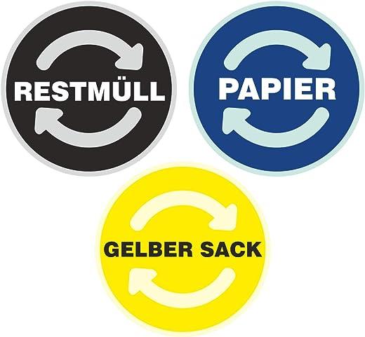 deformaze Sticker Set RESTMÜLL PAPIER GELBER SACK Aufkleber Mülltonne Mülleimer Recycling Abfall Mülltrennung Wertstoffkennzeichnung UV Wetterfest 9cm