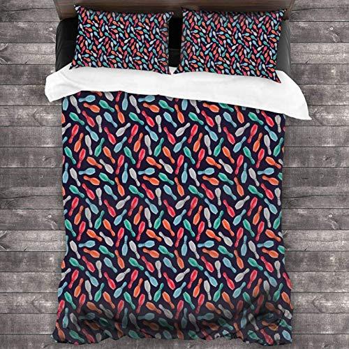 Maja Shop Color Bowling Unisex-Bettwäsche-Set, 3-teilig, 213 x 178 cm, mit Reißverschluss, superweiche Mikrofaser, Deckenbezug mit Kissenbezug, für Schlafzimmer, Gästezimmer und Hotel