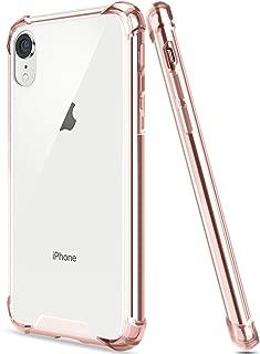 Egotude Shock Proof Clear Transparent Hard Back Hybrid Soft Bumper Anti Scratch Cover Cases for iPhone XR (Rose Gold)