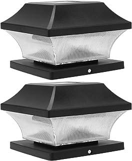 Mobestech 2pcs Outdoor Garden Solar LED Post Deck Cap Square Fence Light Decorative Landscape Lights for Lamp Lawn Patio W...
