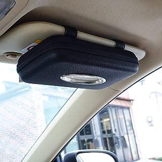 Cartisen Car Tissue Holder, Sun Visor Napkin Holder, Car Visor Tissue Holder, PU Leather Backseat Tissue Case Holder for Car,Vehicle (Black)