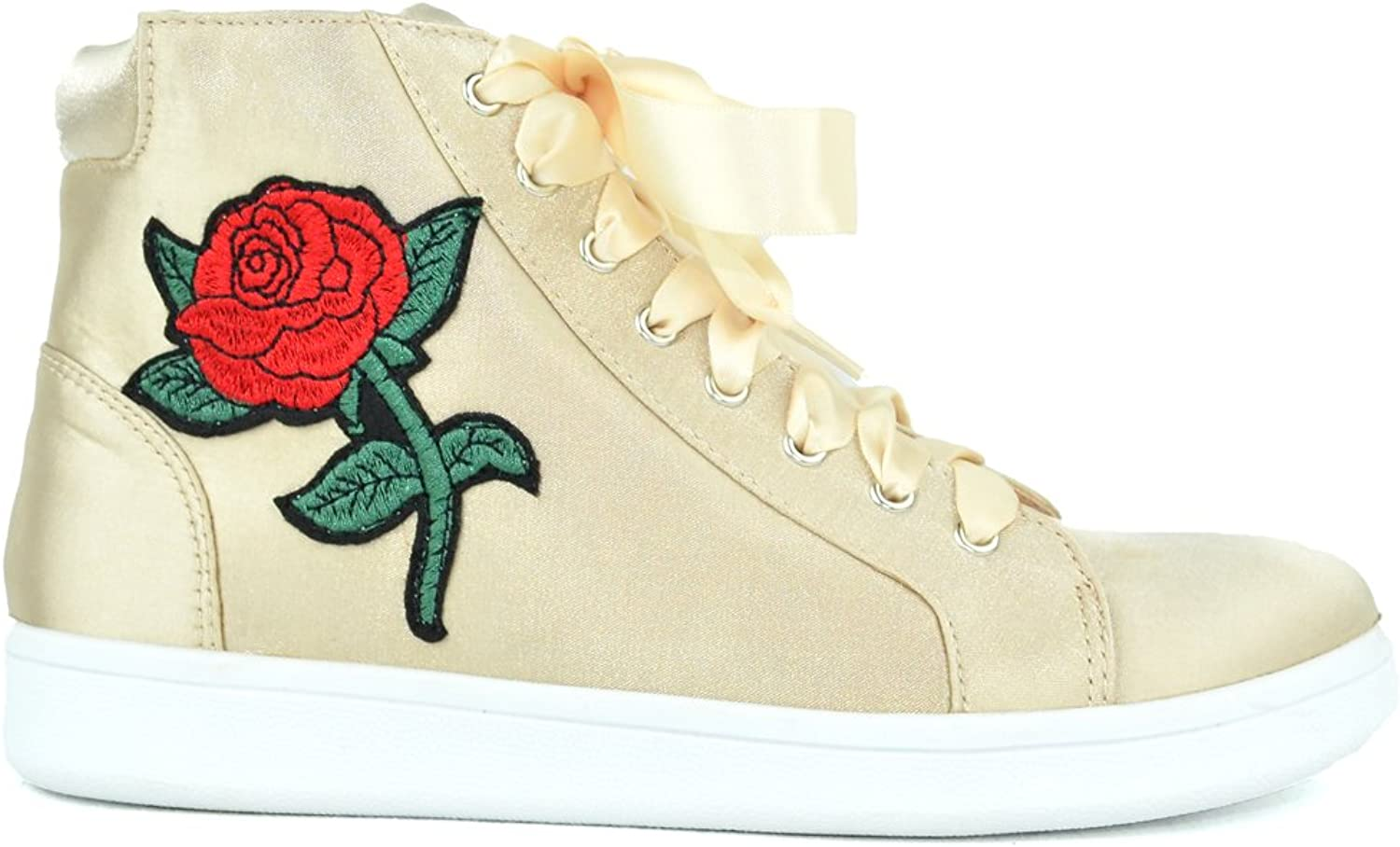 Chase & Chloe Celine-5 High Top Lace-up Women Fashion Sneaker with Embroidery Design