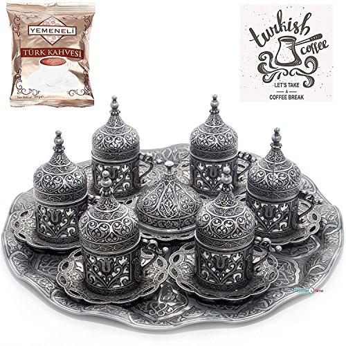 Osmanische Kaffeetasse mit Untertasse für türkische, griechische und arabische Kaffee-Espreso-Serviertassen (Kubbeli), Schwarz, 6 Stück