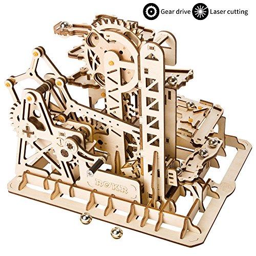 ROKR 3D Puzzle in Legno Tagliato a Laser Kit di Costruzione Fai-da-Te Kit di Costruzione Modello Meccanico con Balls (Tower Coaster)