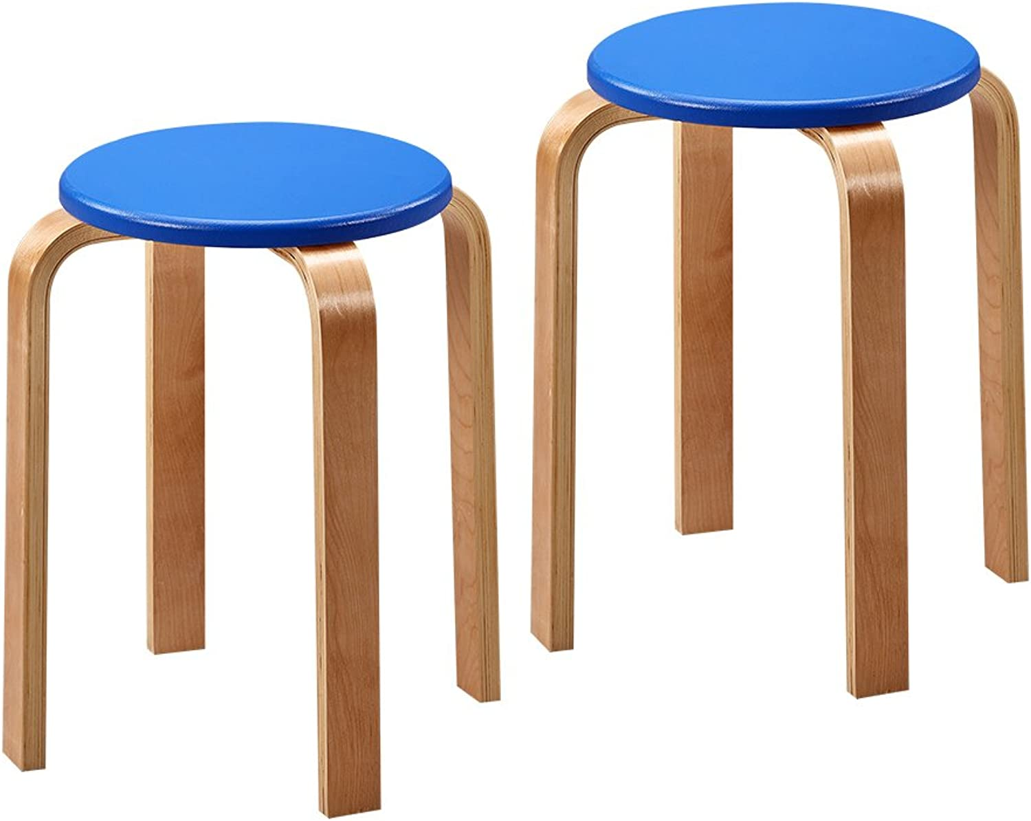 European Chair Plastic Stool, Thick Solid Wood Small Stool Simple Dining Table high Stool Step Stool Footstool (2 Pieces) (color   bluee)