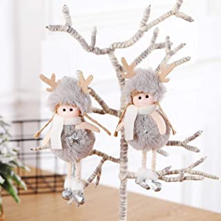 Christmas Hanging Pendant Happy New Year Xmas Tree Embellishment Angel Plush Doll Decorations Antlers Girl Drop Ornaments(Snow,Pink)
