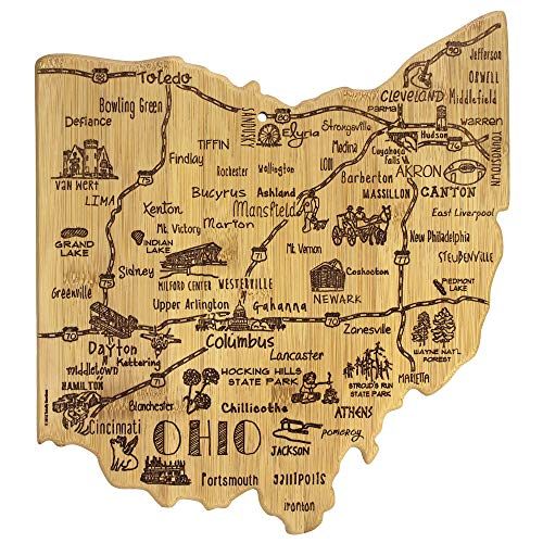 """Totally Bamboo Destination Series Ohio State Shaped Serving and Cutting Board, Bamboo, 13.5"""" x 12"""""""