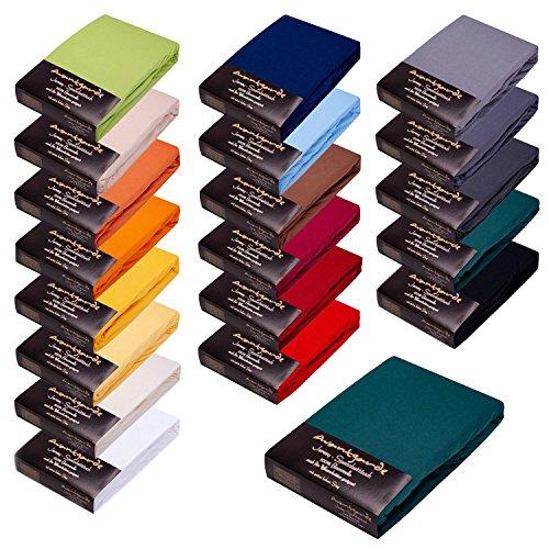 AVANTGARDE Premium Spannbetttuch - 180x200-200x220 - 40cm Steg - auch für Boxspringbett & Wasserbett - Spannbettlaken sehr Gute ca.170g/m² - Bettlaken 100% Jersey Baumwolle, ÖKO-TEX (15 dunkelgrün)