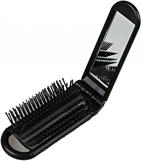 LOUISE MAELYS Portable Folding Hair Brush with Mirror Compact Pocket Hair Comb for Travel Gift Idea