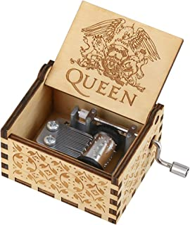 Wooden Music Boxes Theme Greatest Hits Queen, Hand Crank Antique Retro Carved Wood Musical Box, 18 Note Mechanism Home Decoration Vintage Classic Kids Children Gifts for Christmas/Birthday(Brown)