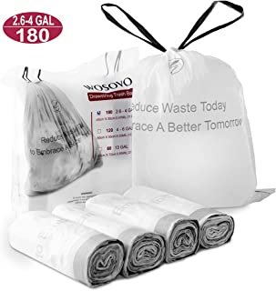 Small Trash Bags Drawstring 2.6-4 Gallon Eco-Friendly, Kitchen Bath Bedroom Garbage Bags Unscented, Home Office Wastebasket Bag White Heavy Duty for Indoor Outdoor, 6 Rolls/180 Counts