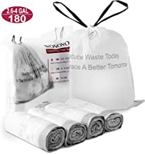 Small Trash Bags Drawstring 2.6-4 Gallon Eco-Friendly, Kitchen Bath Bedroom Garbage Bags Unscented, Home Office Wastebasket Bag White Heavy Duty for Indoor Outdoor, 4 Rolls/180 Counts